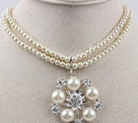 Wholesale Necklace White Flowers - white color cystal beads flower wedding bride lady's set necklace earings tp[o