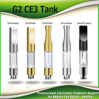 Wholesale Drip Atomizers - G2 CE3 510 Cartridge Tank 0.3ml 0.5ml 0.8ml 1.0ml Gold Metal Plastic Drip Tips WAX Thick Oil Vaporizer Atomizer For BUD Touch O Pen Battery