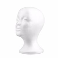 köpük şapkalar toptan satış-Kadın Strafor peruk kafaları Köpük Manken Mankeni Başkanı Modeli Peruk Saç Gözlük Gözlük Şapka Ekran