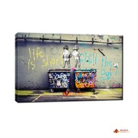 Wholesale Cheap Wall Art Decor - Banksy Art Life Is Short Chill The Duck Out cheap modern canvas art home decor wall art painting large wall picture