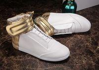 Wholesale M Pop - New design High Top Autumn Ankle Boots maison martin margiela men shoes pop Men genuine Leather Gold Silver free shipping 37-47 10color