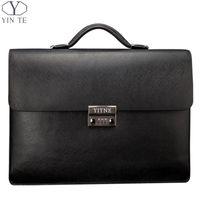 Wholesale Thicker Dress - Wholesale- YINTE Men's Leather Black Briefcas Big And Thicker Business Handbag Laptop Messenger Document Bag Lawyer Case PortfolioT8191-6