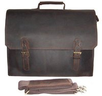 Vente en gros - Vintage Crazy Horse Leather Briefcase Men business bag Homme Cuir portable Porte-documents Sac à main sac à bandoulière sac en cuir 14 pouces