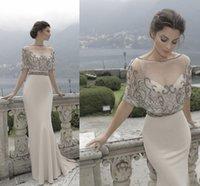 Wholesale Short Overlay Dress Prom - 2017 tarik ediz white evening dresses beaded sweetheart neckline with an illusion bateau overlay mermaid evening gowns