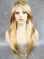 Iwona Hair Straight Soft Silky Long Two Tone Blonde Mix Wig 14 # 27HR / 86 Perruque synthétique à lame et à lame à la main sans silicone à la main