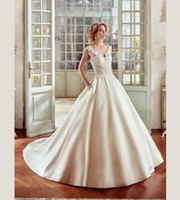 Wholesale Satin Lace Ballgown Wedding Dresses - Haute Couture Strapless Deep V-neck Princess Style Wedding Dress Satin Ballgown With Pocket and Button Bridal NIAB17024 Nicole Spose