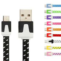 adaptador de cargador plano usb al por mayor-Micro USB de tela trenzada V8 Cargador de sincronización de datos Cable de nylon Cable plano Adaptador 1 M 3FT para Samsung Galaxy S6 S4 Nota 4 htc