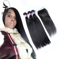 Alibd Cut Form Jeune fille Virgin Brazilian Straight Hair Extensions Healthy Fin No Split 3 Pcs Weave et 4 * 4 Free Part Closure