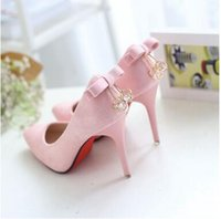 Wholesale Wedding 7cm Heels - Fashion Hot 10CM and 7CM Pointed Toes Stiletto Heel High Heels Suded Pink High-Heeled Shoes Bowknot Slow Dress Shoes 4 Color