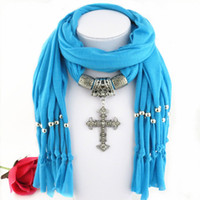 Wholesale wholesale cross pendant scarves - Latest Cheap Fashion Ladies Scarf Direct Factory Clear Rhinestones Cross Pendant Scarves Jewelry Women Tassel Scarves