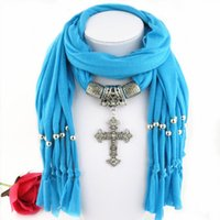O mais recente Cheap Fashion Ladies Scarf Direct Factory Clear Rhinestones Cross Pendant Scarves Jóias Mulheres Tassel Scarves