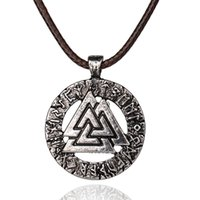 Wholesale Love Warriors - Slavic Norway Valknut pagan amulet pendant Men necklace Scandinavian jewelry Odin 's Symbol of Norse Viking Warrior Whosale