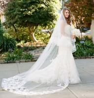 largos velos de colorete al por mayor-2 niveles de velos largos de la boda con apliques de encaje Edge Cover Face Blusher velo de novia con accesorios de la boda peine T-46
