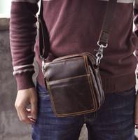 Wholesale Handbag Oil - KISSUN Factory Oil Waxed Cowhide Leather Men Bag Small Shoulder Bag Cross Body Handbag Belt Waist Bag Funny Bag