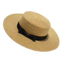 Wholesale gold flat brim hat for sale - Group buy Sun Hat For Women Fashion Gold Flat Summer Hats Ladies Wide Brim Beach Caps With Bow Chapeu Feminino