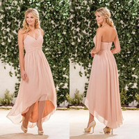 Wholesale Long Blush Chiffon Gowns - Blush Pink Chiffon High Low Bridesmaid Dresses Cheap Halter Pleats Back Zipper Long Beach Country Garden Maid Of Honor Gown