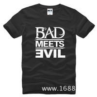 Wholesale Bad Meets Evil - WISHCART Eminem Bad Meets Evil rap rock Men's T-Shirt T Shirt For Men 2016 New Short Sleeve Cotton Casual Top Tee Camisetas Masculina