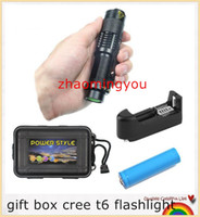 Wholesale 1 set gift box cree t6 flashlight led mini penlight waterproof portable torch bike bicycle linterna battery charger
