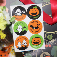 Wholesale 6pcs set happy halloween seal sticker DIY cookies cake bag halloween decoration gift packing Label DHL