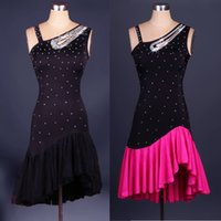 Wholesale Latin Dance Competition Dress Black - 2017 Custom New Latin Dance Dresses Black Rose Ballroom Dancing Dresses Cha Cha Rumba Samba Dancewear Dance Competition Dress
