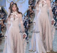 marfim abaya venda por atacado-Rendas de Marfim De Veludo Kaftan Formal Abaya Vestidos de Noite com Mangas de Sino 2018 Modest Elie Saab Alta Pescoço Arco Prom Party Vestidos