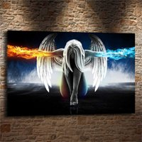 Wholesale modern art painting women figure - ABSTRACT WOMAN COLOURFUL ANGEL WINGS,Home Decor HD Printed Modern Art Painting on Canvas (Unframed Framed)
