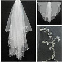 Wholesale Elegant Beads - Elegant In Stock White Short Bridal Veils Beaded Edge Wedding Veils Voile De Mariee Head Veils