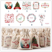 Wholesale Xmas Decoration Items - Christmas Canvas Santa Claus Drawstring Bags Xmas Gifts New Hot Santa snowman Christmas decorations candy gift Sack Bags, 9 items to choose