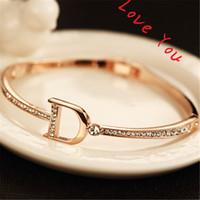 ingrosso braccialetti dorati coreani placcati-Zircone stile coreano Bracciali Bangle per le donne placcato oro lettera D Charms bracciali gioielli accessori moda