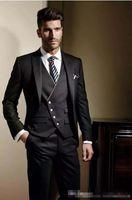 Wholesale Tuxedo Jackets For Men - 2017 Custom Made Groom Tuxedos Formal suit Wedding suit for men Groomsman Men Suits Jacket+Pants+Tie+Vest classic fit Bridegroom Suit