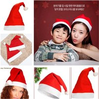 Wholesale Hot Santa Costume - Hot sale Christmas Party Santa Hat Red And White Cap Christmas Hat For Santa Claus Costume Christmas Decoration IA875