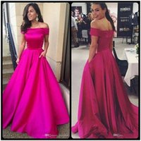 Wholesale Elegent Formal Dress - Evening Dresses Wear 2017 New Elegent Cheap Off Shoulder Fuchsia Satin With Pocket Zipper Back Long Sweep Train Party Dress Formal Prom Gown