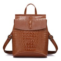 Wholesale Multifunctional Style Women Backpack - women backpack high quality split leather shoulder bag female crocodile prints large multifunctional backpack