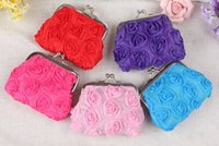 Wholesale Rose Wallets Purses - Size 9*8cm Birthday Christmas Gifts Cotton Pastoral Cloth Big Rose Buckle Hasp Style Mini Lady Coin Purse Wallet Sundries Mess Kits Purses