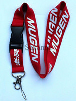 Wholesale Car Key Cell Phones - Red Mugen Key Lanyards Car Logo cell phone neck keychain straps