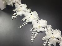 flor recorta patio al por mayor-15 yardas perla blanca del grano de la flor chiffion tela de encaje ajuste de la cinta para diy nupcial de la boda casquillo de la muñeca pin de pelo
