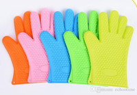 Wholesale Thick Glove Mitt - hot New Arrival Food grade Heat Resistant thick Silicone Kitchen barbecue oven glove Cooking BBQ Grill Glove Oven Mitt Baking glove