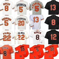 Wholesale Baltimore Xxl - Throwback Men's Baltimore 8 Cal Ripken 5 Brooks Robinson 12 Roberto Alomar 13 manny machado 22 Jim Palmer 33 Eddie Murray jersey stitched