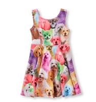 vestido de conejo de algodón animal de verano de las niñas al por mayor-Estilo occidental Niñas Vestidos de verano animal perro / conejo impresión algodón diseñador de la marca Baby Fashion Girl Dress verano