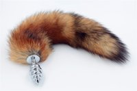 Wholesale Spiral Tails - Screw plugs Red Fox Tail Spiral Butt Anal plug 35cm long Real Fox tails Metal Anal Sex Toy