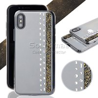 Wholesale Transparent Bag Material - Bling Glitter rock Diamond Material Luxury Crystal Rhinestone transparent Case PC cover For IPhone X 8 7 6s 6 Plus Samsung S8 Plus OPP BAG