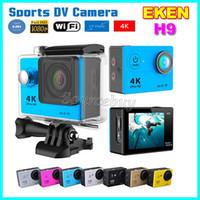 dvr spor kameraları toptan satış-Eylem Kameralar EKEN H9 Ultra HD 4 K Geniş açılı Lens 170 ° WiFi Kontrolü HDMI Su Geçirmez 30 M 2 inç LCD Mini Spor Kamera Araba DV DVR