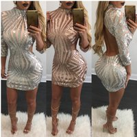 2017 с длинным рукавом Sequin Bodycon Short Prom Occasion Dress Sexy Christmas Champagne Open Back Party Mini Club коктейльное платье LC22891