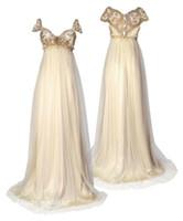inspirierte braut großhandel-1800 viktorianischen Stil Brautkleider Regency inspiriert Vintage Rabatt elegant eine Linie formale lange Braut Party Kleider