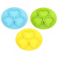 Wholesale Dining Tray - Silicone Baby Feeding Suction Tray Cute Cartoon Plate for Kids Toddlers Kitchen Dining Table Bowl Travel Bowl For Children Clover Shape