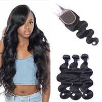 Wholesale virgin russian hair bundles - Peruvian Human Hair Bundles With Closure Free Middle Three Part Virgin Body Wave Hair Weaves Top Closures G-EASY