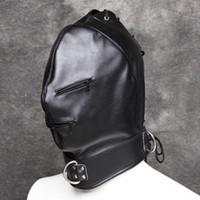 Wholesale Soft Leather Fetish Hoods - Kinky Soft PU Leather Full Head Bondage Executioner Hood Mask with Eyes and Mouth Zipper Fetish Cosplay Costume