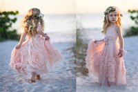 Wholesale Handmade Dress Baby Girl - 2017 Pink Ball Gown Flower Girl Dresses Spaghetti Ruffles Handmade Flowers Lace Tutu Vintage Little Baby Gowns for Communion Boho Wedding