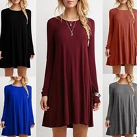 Mini-top-shirt Kaufen -Frauen-Rundhals Langarm-Casual Loose T-Shirt Kleid Tunika Tops Casual Plain Einfache T-Shirt Lose Kleid