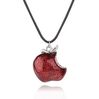 Wholesale Red Crystal Apple Charm - Once Upon a Time Necklace Regina Mills 925 Sterling silver snow white One Bite Red Poison Apple Pendant Necklaces crystal Charms for women